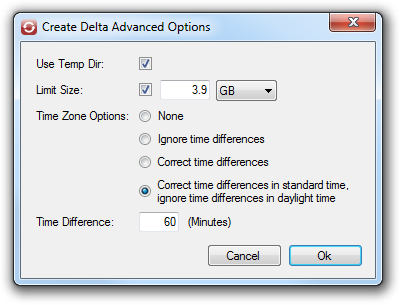 Advanced options for creating the delta file.